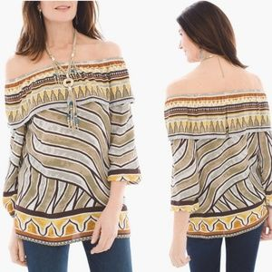 Chico's Tribal Printed Off-Shoulder Blouse 2 (L)